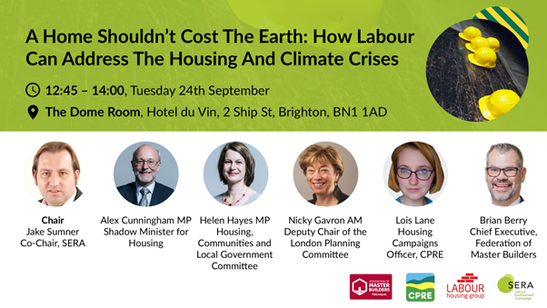 "LHG and SERA 2019 Conference Fringe: ""A home shouldn't cost the earth: How Labour can address the housing and climate crises"""
